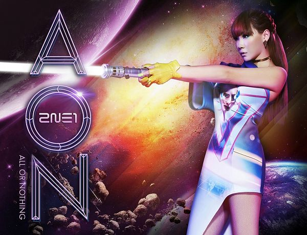 Tags: K-Pop, 2NE1, CL, Blue Dress, Bare Shoulders, Blue Outfit, Sleeveless, Bare Legs, Red Hair, Sleeveless Dress, English Text, Weapons