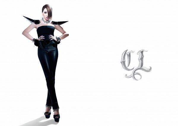 Tags: K-Pop, 2NE1, CL, Sleeveless, Black Footwear, White Background, Crossed Legs (Standing), High Heels, Medium Hair, Sleeveless Shirt, Text: Artist Name, Black Pants