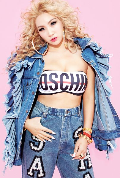 Tags: K-Pop, 2NE1, CL, Wavy Hair, Cleavage, Jeans, Denim Jacket, Hand In Pocket, Suggestive, Pink Background, Gray Background, Android/iPhone Wallpaper