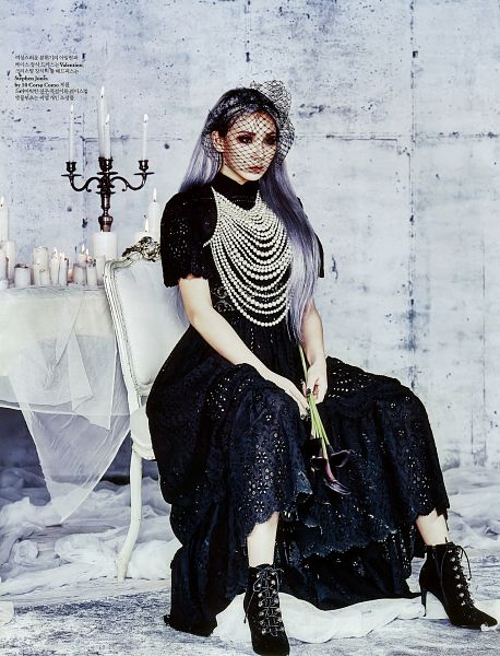 Tags: K-Pop, 2NE1, CL, Necklace, Veil, Black Outfit, See Through Clothes, High Heels, High Heeled Boots, Black Dress, Boots, Black Footwear