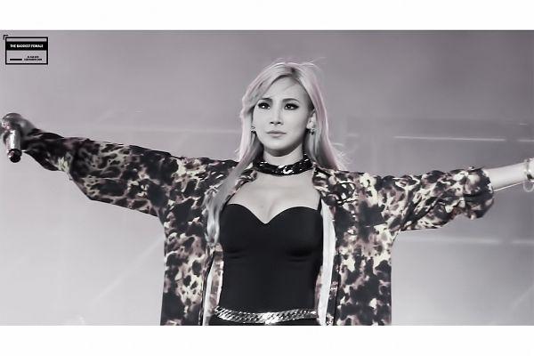 Tags: K-Pop, 2NE1, CL, Looking Ahead, Monochrome, Cleavage, Black Outerwear, Suggestive, Looking Up, Black Jacket, Gray Hair, Black Eyes
