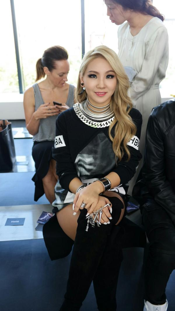 Tags: K-Pop, 2NE1, CL, Bench, Black Outfit, Black Footwear, Hand On Knee, Necklace, Crossed Legs, Ring, Thigh Boots, Bracelet