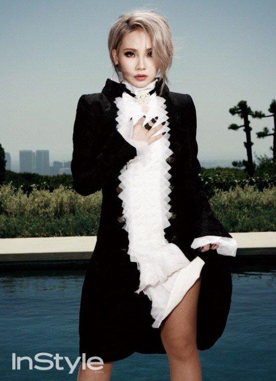 Tags: K-Pop, 2NE1, CL, Hand On Chest, Skirt, Lifting Skirt, Black Skirt, Text: Magazine Name, Magazine Scan, InStyle