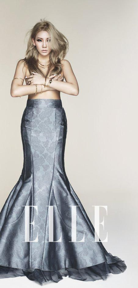 Tags: K-Pop, 2NE1, CL, Skirt, Text: Magazine Name, Suggestive, Topless (Female), Hand On Chest, Necklace, Blue Skirt, Bracelet, Elle Korea