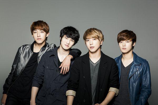 Tags: K-Pop, CNBLUE, Kang Min-hyuk, Lee Jung-shin, Lee Jong-hyun, Jung Yong-hwa, Gray Background, Full Group, Gray Shirt, Blue Outerwear, Quartet, Blue Jacket