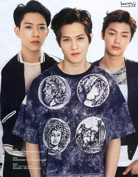 Tags: K-Pop, CNBLUE, Lee Jong-hyun, Kang Min-hyuk, Lee Jung-shin, Black Jacket, Black Outerwear, Light Background, White Background, Three Males, Trio, Magazine Scan