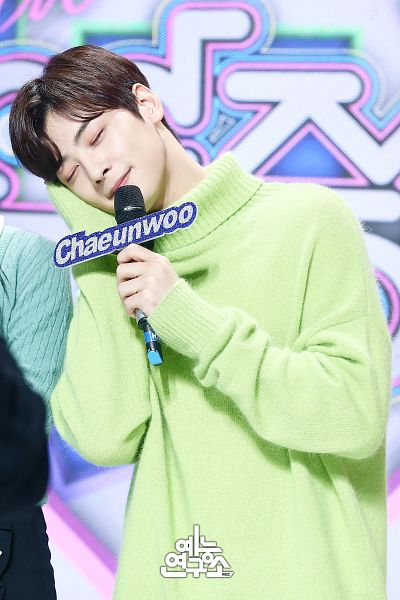 Tags: K-Pop, Television Show, Astro, Cha Eunwoo, Hand On Head, Sweater, Holding Object, Korean Text, English Text, Text: Artist Name, Green Shirt, Hand On Cheek