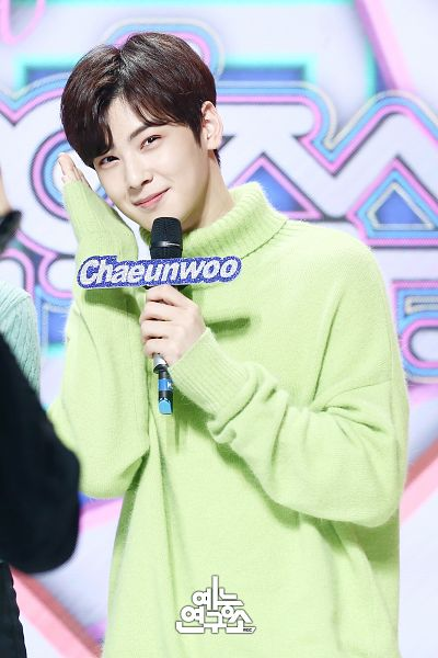 Tags: Television Show, K-Pop, Astro, Cha Eunwoo, Holding Object, Korean Text, English Text, Green Shirt, Text: Artist Name, Collar (Clothes), Turtleneck, Sweater