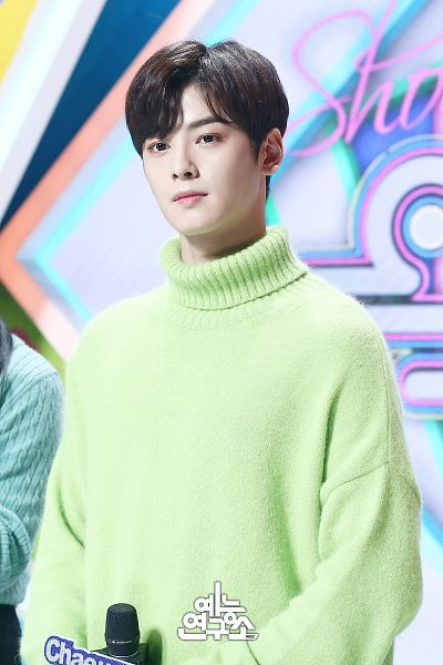 Tags: Television Show, K-Pop, Astro, Cha Eunwoo, Holding Object, Korean Text, English Text, Text: Artist Name, Green Shirt, Turtleneck, Collar (Clothes), Looking Ahead