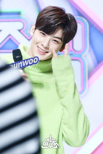 Tags: K-Pop, Television Show, Astro, Cha Eunwoo, Green Shirt, V Gesture, Turtleneck, Collar (Clothes), Looking Ahead, Sweater, Holding Object, Korean Text