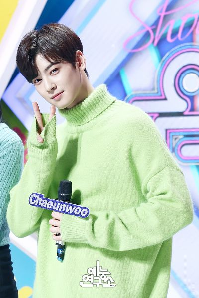 Tags: Television Show, K-Pop, Astro, Cha Eunwoo, English Text, Green Shirt, V Gesture, Text: Artist Name, Collar (Clothes), Turtleneck, Sweater, Holding Object
