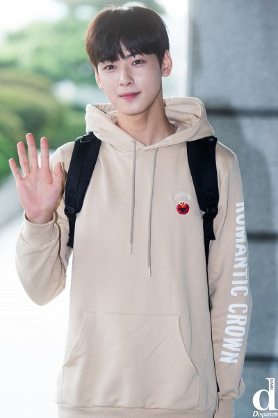 Tags: K-Pop, Astro, Cha Eunwoo, Backpack, Hood, Wave, Hoodie, Looking Ahead, Close Up, Bag, Blunt Bangs, Dispatch