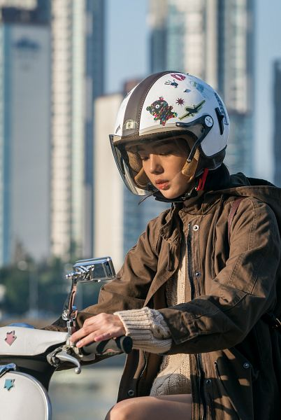 Tags: K-Drama, Chae Soo-bin, Helmet, Looking Down, Brown Outerwear, Hood, Motorcycle, I'm Not a Robot