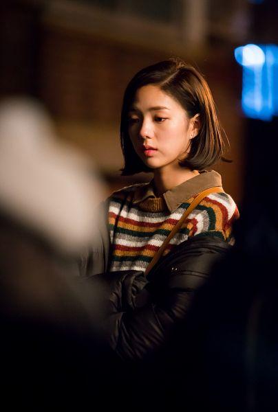 Tags: K-Drama, Chae Soo-bin, Night, Black Outerwear, Looking Down, Striped Shirt, Serious, Black Jacket, Striped, Medium Hair, I'm Not a Robot