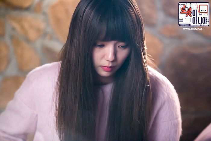 Tags: K-Drama, Chae Soo-bin, Pink Outerwear, Serious, Text: Series Name, Korean Text, Text: URL, Looking Down, I'm Not a Robot