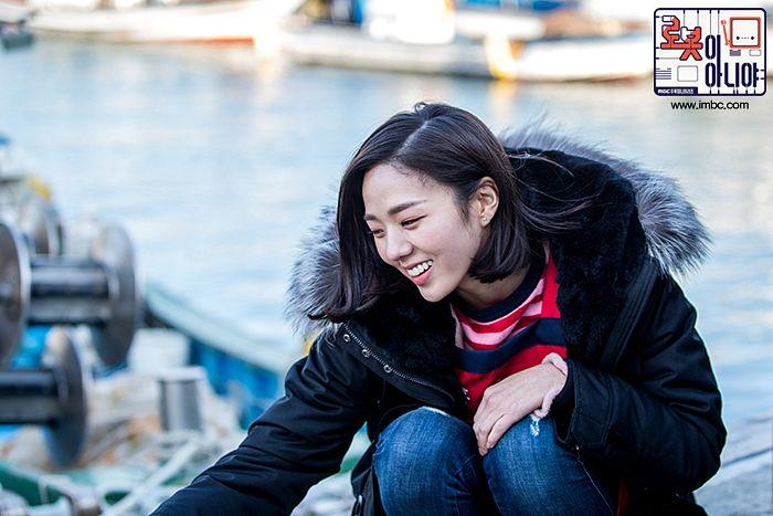 Tags: K-Drama, Chae Soo-bin, Medium Hair, Fur Trim, Jeans, Crouching, Text: Series Name, Korean Text, Fur, I'm Not a Robot