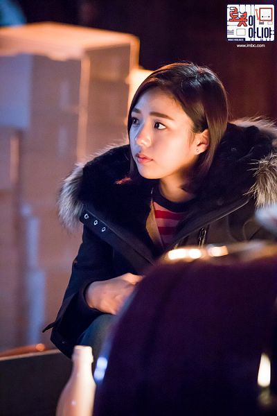 Tags: K-Drama, Chae Soo-bin, Bottle, Serious, Text: Series Name, Looking Ahead, Fur, Night, Fur Trim, Korean Text, I'm Not a Robot