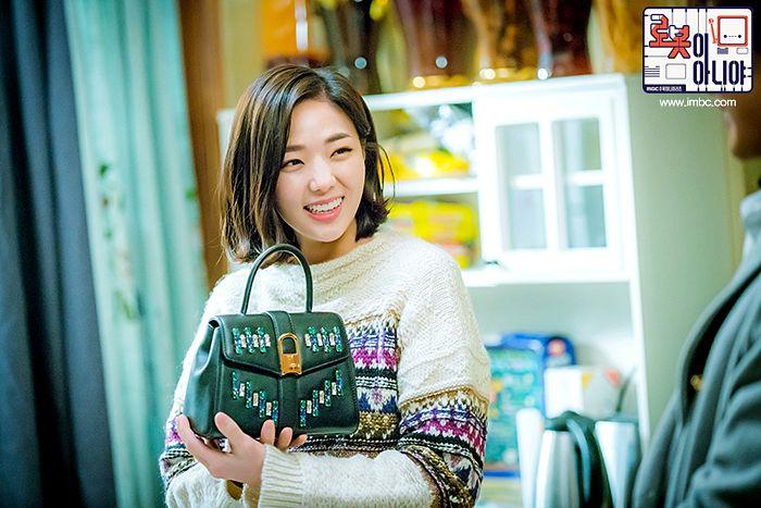Tags: K-Drama, Chae Soo-bin, Korean Text, Text: Series Name, Medium Hair, Sweater, Bag, I'm Not a Robot