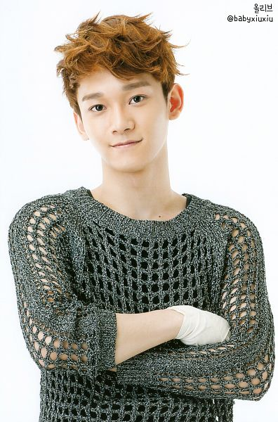 Tags: K-Pop, EXO, Chen, See Through Clothes, Light Background, Gray Shirt, White Background, Sweater, Bandages, Crossed Arms, Android/iPhone Wallpaper