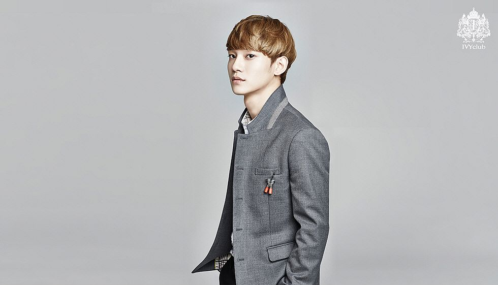 Tags: K-Pop, EXO, Chen, Hand In Pocket, Gray Outerwear, Gray Jacket, Gray Background, Suit
