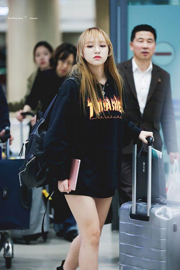 Tags: K-Pop, Cosmic Girls, Cheng Xiao, Glasses, Frown, Walking, Suitcase, Eyes Half Closed, Hood, Bag, Hoodie, Black Outerwear