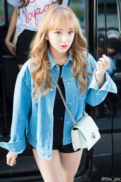 Tags: K-Pop, Cosmic Girls, Cheng Xiao, Shorts, From Above, Black Shirt, Frown, Black Shorts, Walking, Denim Jacket, Looking Ahead, Wavy Hair