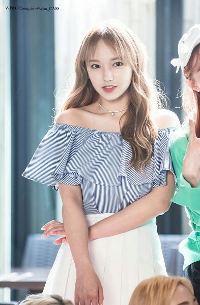 Tags: K-Pop, Cosmic Girls, Cheng Xiao, Crossed Arms, White Skirt, Looking Away, Blue Shirt, Wavy Hair, Bare Shoulders, Necklace, Pleated Skirt, Striped Shirt