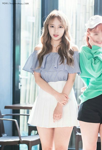 Tags: K-Pop, Cosmic Girls, Cheng Xiao, Bare Legs, Hand On Arm, Striped Shirt, Striped, Wavy Hair, Bare Shoulders, White Skirt, Necklace, Pleated Skirt
