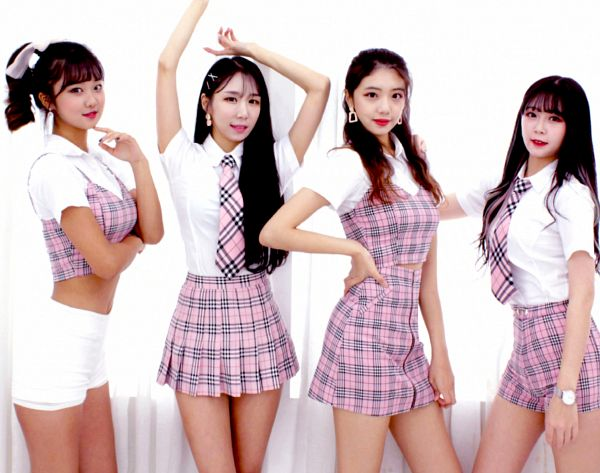 Tags: K-Pop, Cheoeumcheoreom, Nayoon, Arms Up, Uniform, Tie, Quartet, Hair Ornament, Four Girls, Hair Clip, School Uniform