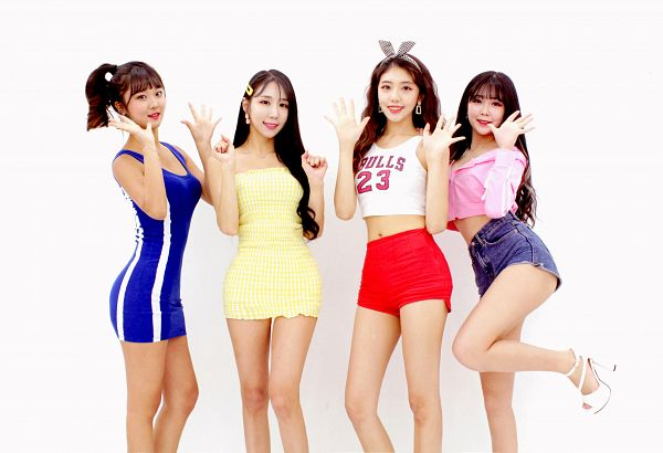 Tags: K-Pop, Cheoeumcheoreom, Nayoon, Blue Outfit, Light Background, Hair Ornament, Shorts, Yellow Outfit, White Background, Red Shorts, High Heels, Hair Clip