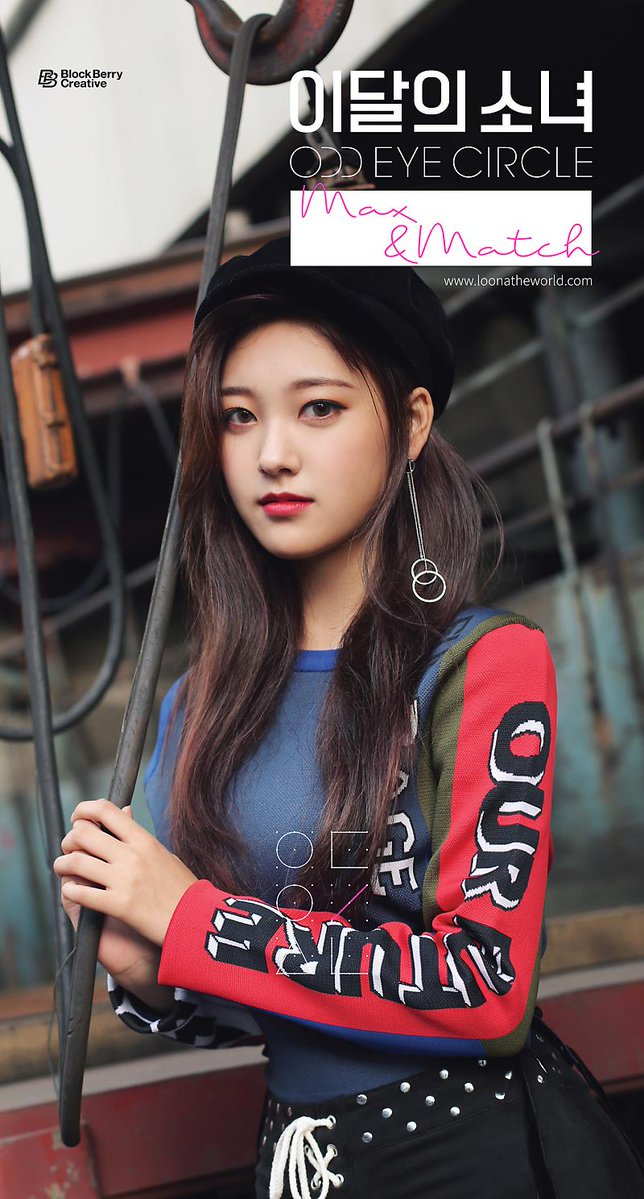 Tags: K-Pop, LOOΠΔ, Choerry, Korean Text, Text: URL, Red Lips, Black Headwear, Text: Artist Name, English Text, Text: Album Name, Hat, Mix&Match