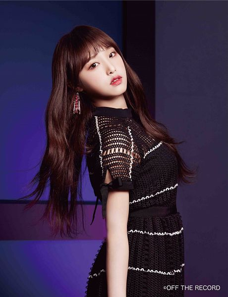 Tags: K-Pop, IZ*ONE, Choi Yena, Serious, Make Up, Black Outfit, Black Dress