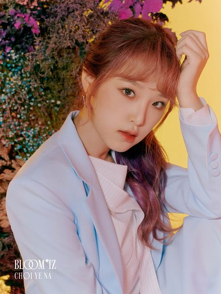 Tags: K-Pop, IZ*ONE, Choi Yena, Hand On Head, Red Hair, Text: Artist Name, Blue Jacket, Text: Album Name, Serious, Hair Up, Plant, Ponytail