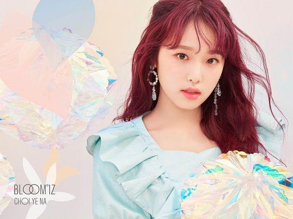 Tags: K-Pop, IZ*ONE, Choi Yena, Serious, Blue Shirt, Text: Artist Name, Red Hair, Text: Album Name