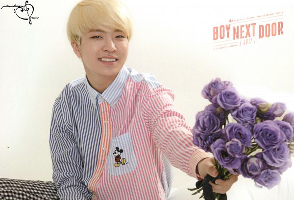 Tags: K-Pop, Got7, Choi Youngjae, Flower, Striped Shirt, Light Background, Purple Flower, White Background, Rose (flower), Blonde Hair, Striped, GOT7 2015 Season's Greetings