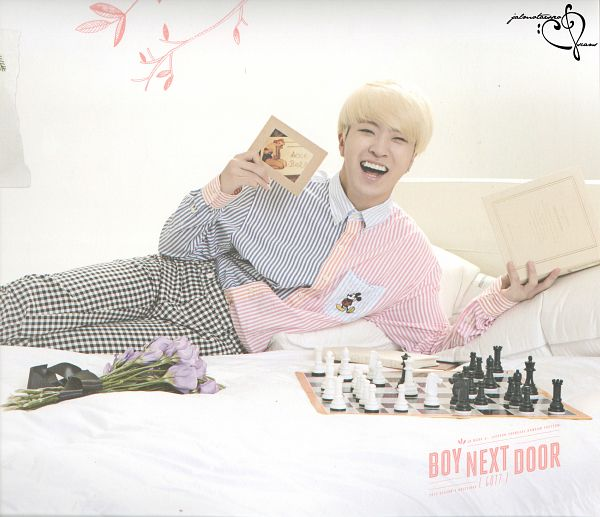 Tags: K-Pop, Got7, Choi Youngjae, Book, Striped Shirt, Chess, Pillow, Open Book, Blonde Hair, Bed, Laying Down, Striped