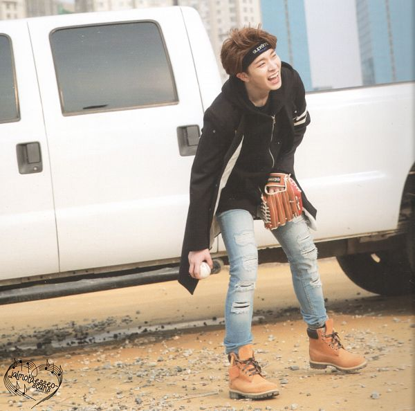 Tags: K-Pop, Got7, Choi Youngjae, Baseball Ball, Coat, Baseball Glove, Jeans, Black Outerwear, Boots, Ball, Hoodie, Baseball
