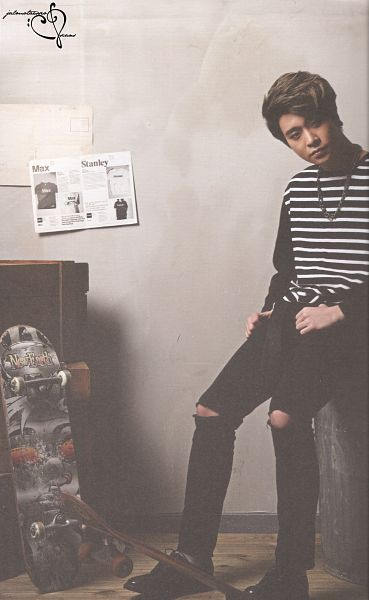 Tags: K-Pop, Got7, Choi Youngjae, Necklace, Skateboard, Serious, Striped Shirt, Striped, Black Pants, Ripped Pants, Android/iPhone Wallpaper, Scan