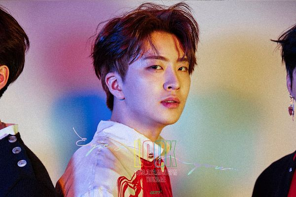 Tags: K-Pop, Got7, Choi Youngjae, Text: Album Name, English Text, Mole, Text: Song Title, Text: Calendar Date, Facial Mark, Text: Artist Name, Eyes On You