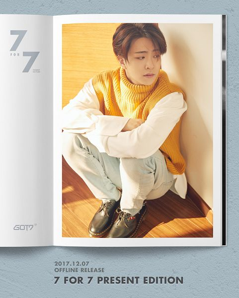 Tags: K-Pop, Got7, Choi Youngjae, English Text, Sitting On Ground, Text: Artist Name, Text: Album Name, White Pants, Shadow, Text: Calendar Date, Sweater, 7 for 7