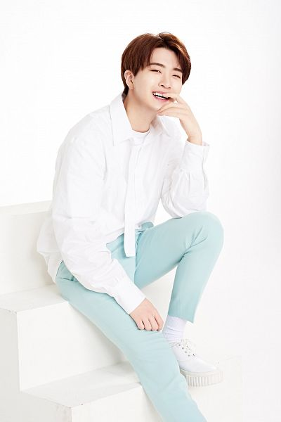 Tags: K-Pop, Got7, Choi Youngjae, Sitting On Stairs, Light Background, Blue Pants, White Background, White Footwear, Make Up, Wink, Stairs, The Face Shop