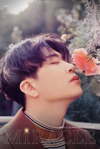 Tags: K-Pop, Got7, Choi Youngjae, Striped, Striped Shirt, English Text, Brown Outerwear, Text: Song Title, Text: Artist Name, Pink Flower, Eyes Closed, Text: Album Name