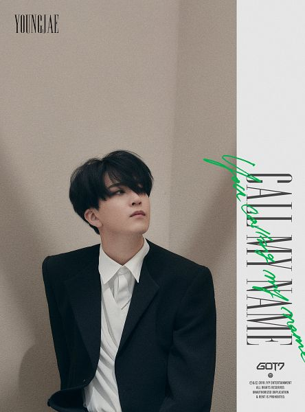 Tags: K-Pop, Got7, Choi Youngjae, Text: Album Name, Serious, Black Jacket, Looking Ahead, English Text, Text: Artist Name, Text: Song Title, Black Outerwear, Call My Name