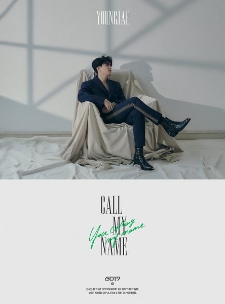 Tags: K-Pop, Got7, Choi Youngjae, Full Body, Shadow, Text: Artist Name, Chair, Black Footwear, Text: Album Name, Looking Ahead, English Text, Blanket