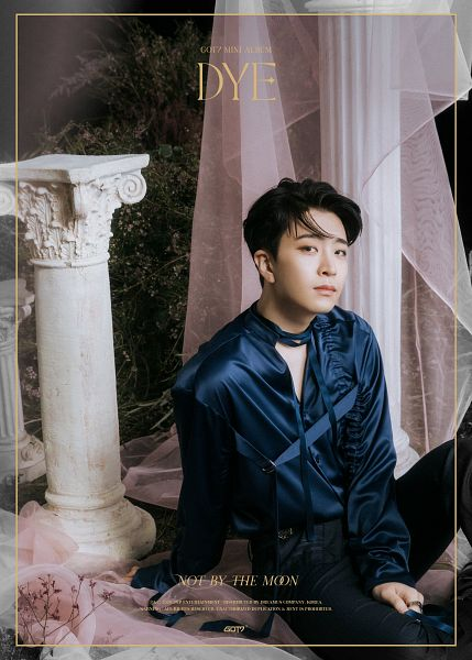 Tags: K-Pop, Got7, Choi Youngjae, Blue Shirt, Column, Ring, Veil, Plant, Black Pants, Curtain, English Text, Text: Artist Name