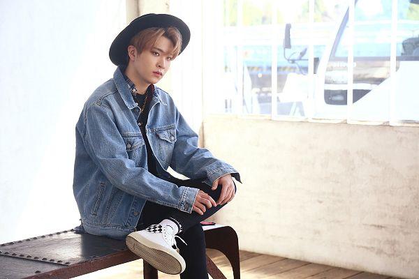 Tags: K-Pop, Got7, Choi Youngjae, Serious, Hat, Denim Jacket, Black Pants
