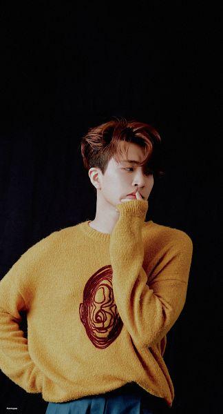 Tags: K-Pop, Got7, Choi Youngjae, Dark Background, Hand On Head, Yellow Shirt, Sweater, Black Background, Hand On Cheek, Magazine Scan, Star1