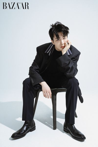 Tags: K-Pop, Got7, Choi Youngjae, Black Footwear, Black Pants, Sitting On Chair, Hand On Head, Hand On Cheek, Chair, Light Background, Serious, White Background