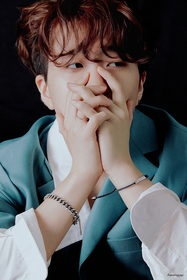Tags: K-Pop, Got7, Choi Youngjae, Bracelet, Blue Jacket, Black Background, Facial Mark, Mole, Hand On Cheek, Looking Away, Hand On Head, Dark Background