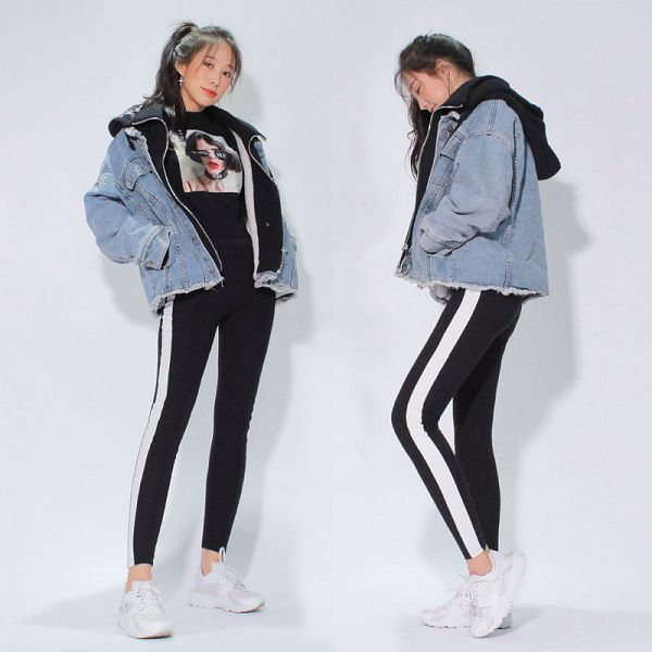 Tags: K-Pop, ICIA, Coca, Black Pants, Two Girls, Hand In Pocket, Hair Up, Multiple Persona, Shoes, Sneakers, Denim Jacket, Ponytail